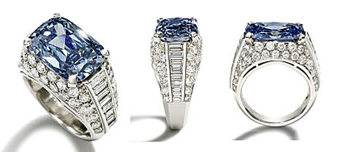 Fancy Blue Diamond Ring Sells For 9 5 Million Sets Auction