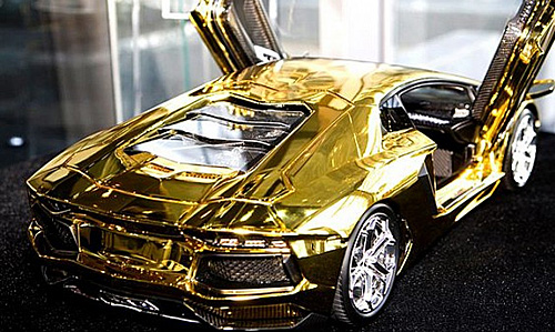 $7.5M Scale Model of Lamborghini Aventador Is Fashioned From a Half on gold chrome lamborghini aventador, pure gold bugatti, pure gold audi, gold plated lamborghini aventador, bugatti aventador, pure gold lamborghini cars, pure gold ford fusion, real gold lamborghini aventador, liquid gold lamborghini aventador, pure gold ford ranger, rose gold lamborghini aventador, pure diamond lamborghini, pure gold range rover, pure gold lamborghini veneno,