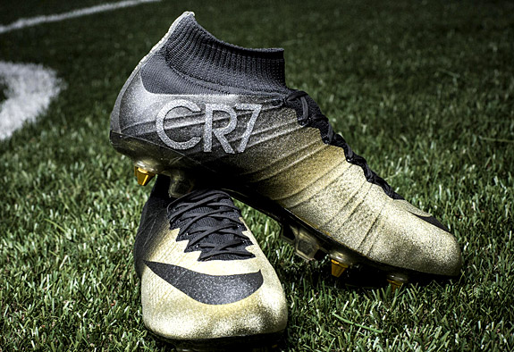 "0cb69f8ed Primarily gold in color and accented by golden cleats, the ""Mercurial CR7  Rare Gold"" soccer boots are highlighted by a CR7 symbol that's completely  covered ..."