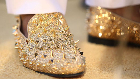 christian louboutin gold loafers