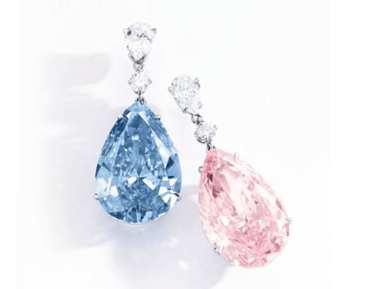 Image result for A PAIR of odd coloured diamonds have become the world's most expensive EARRINGS after they were sold for a staggering $57.4million.