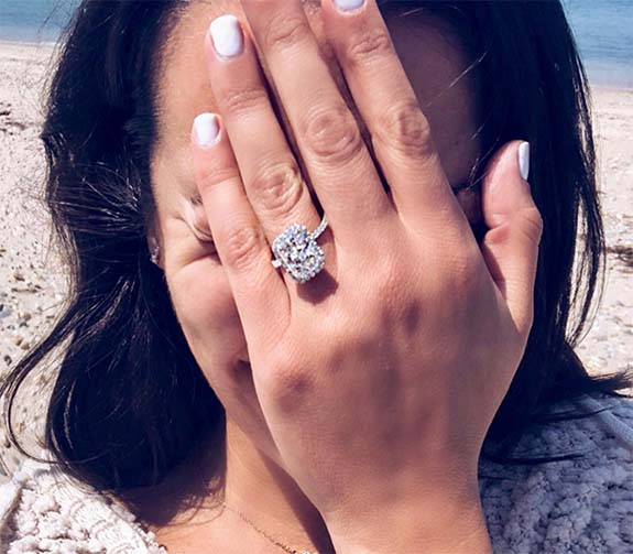 15118ba64dc Lea Michele Shows Off 4-Carat Radiant-Cut Diamond Engagement Ring on ...