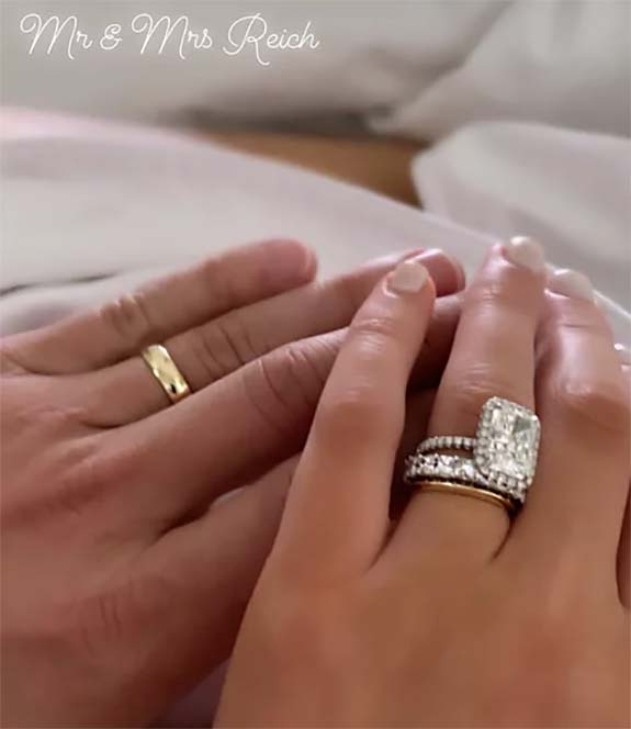8ca3821dc490b Newlywed Lea Michele Shows Off Two Wedding Bands — One Sparkly, One ...