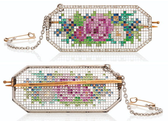 Online Shop Trend Now faberge2 355 Colorful Gems Imitate Embroidered Fabric in Fabergé Brooch From 1913